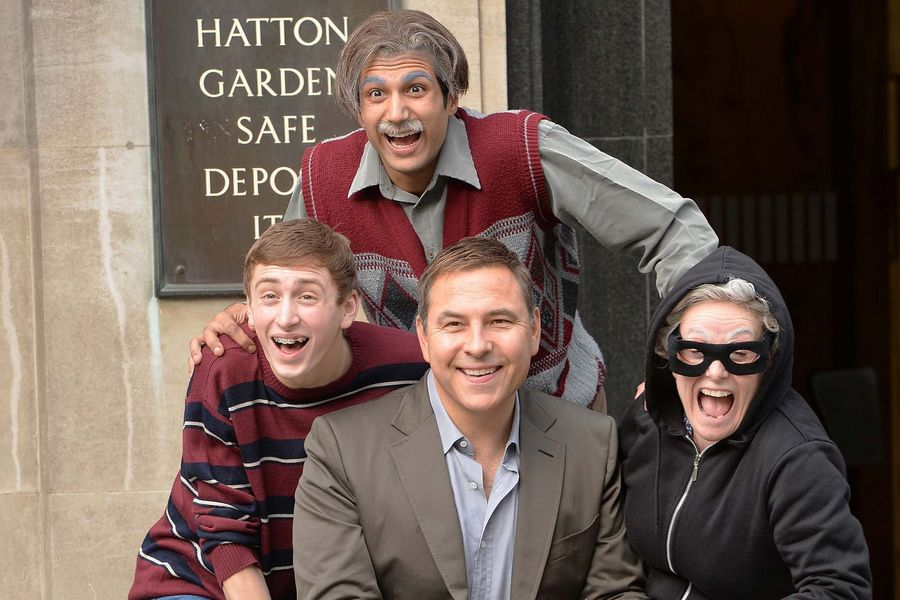 David Walliams at Hatton Garden in London, with cast members Ashley Cousins, Umar Malik and Gilly Tompkins, during the launch of Gangsta Granny as the stage adaptation of his best-selling book comes to the West End.