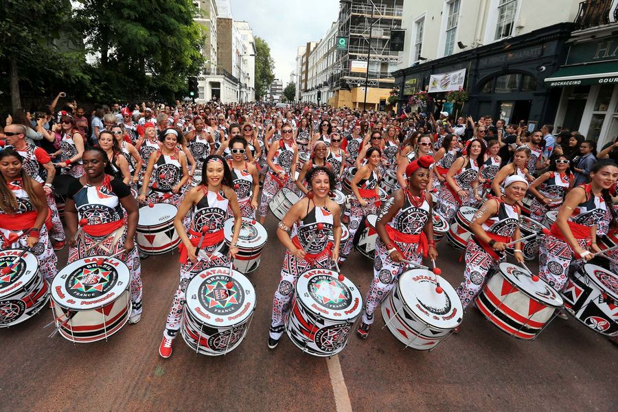 Samba drumming band Batala perform in the Monday parade during the second and final day of the Notting Hill Carnival, west London.Photo: Jonathan Brady.Copyright: PA/Press Association Images.