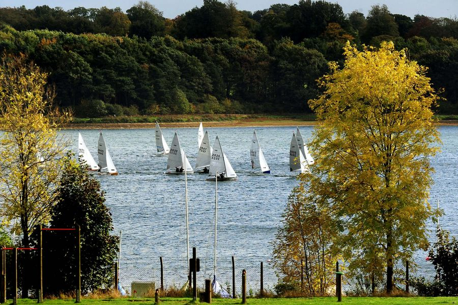 Sailors enjoying the strong winds at Pitsford reservoir, Northamptonshire.