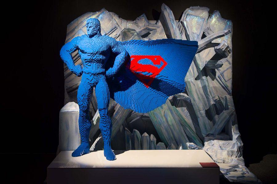 Superman by Nathan Sawaya at the Art Of The Brick: DC Superheroes exhibition.Photo: Dominic Loneragan.