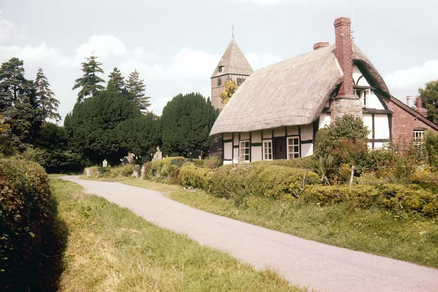 A thatched cottage in Hampton Bishop, Herefordshire, England.