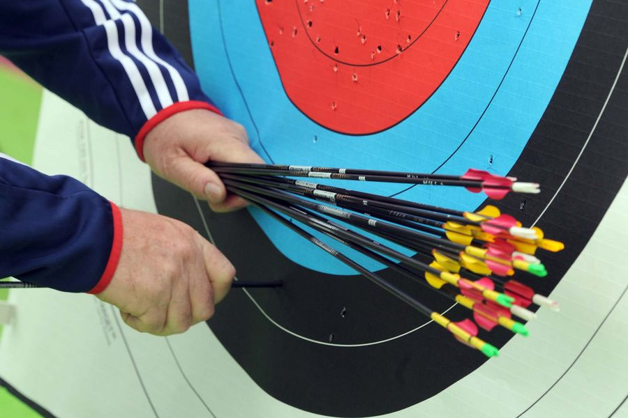 Arrows in a target during the Paralympic Archery Event a the Royal Artillery Barracks in Woolwich