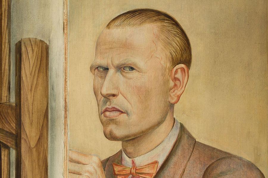 Otto Dix, 1891-1969Self-Portrait with Easel 1926(Selbstbildnis mit Staffelei) 1926800 x 550 mmLeopold-Hoesch-Museum & Papiermuseum, Düren