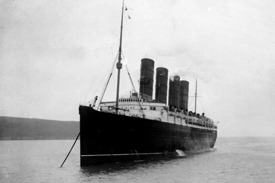 'LUSITANIA' : The Liner 'Lusitania' moored in the Mersey, Christmas 1911. Delivered in 1907, the 'Lusitania' was torpedoed by the German U-20 12 miles off the Old Head of Kinsale, Ireland on 7th May 1915. The loss of life among American passengers is thought to have had a direct influence on the United States' decision to enter the First World War.