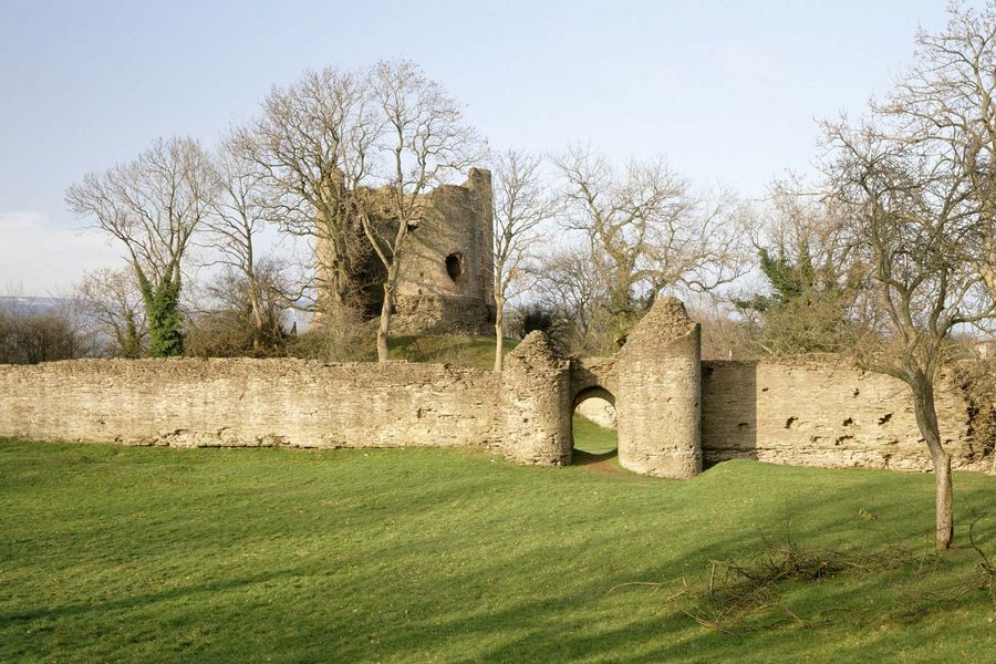 LONGTOWN CASTLE General view of the keep and curtain wall.