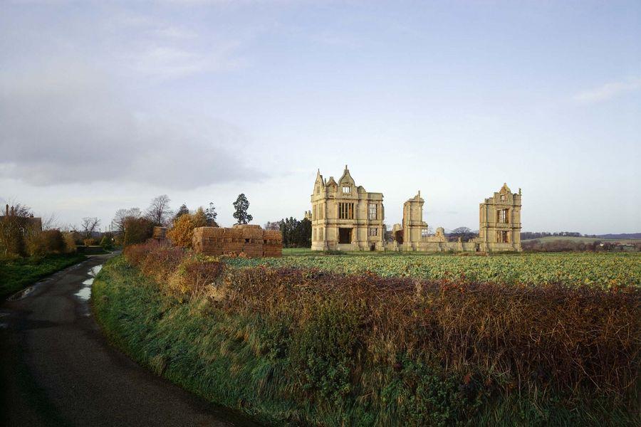 MORETON CORBET CASTLE General view. A medieval castle and remains of an Elizabethan mansion.